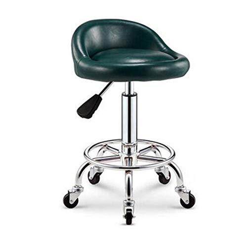 NAN liang Tabouret à roulettes pivotant - Tabouret de bar de salon spa ajustable avec support dorsal et roulettes Chaise pivotante à 360 degrés, disponible en 16 couleurs. (Couleur : F)