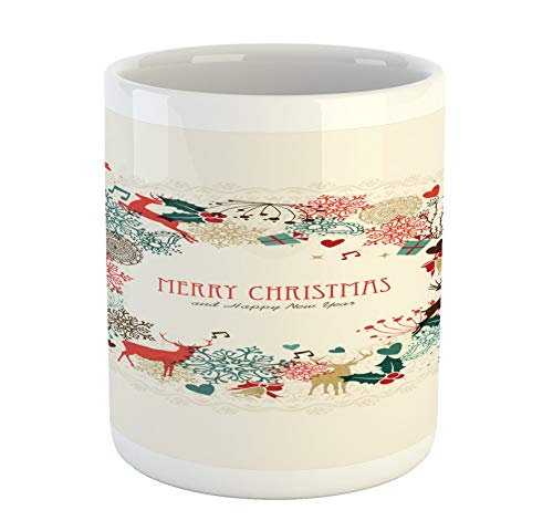 Christmas Mug, Vintage Garland Inspired Round with Hand Drawn Style Seasonal Print Ceramic Coffee Mug Cup for Water Tea Drinks11 oz (330ml)