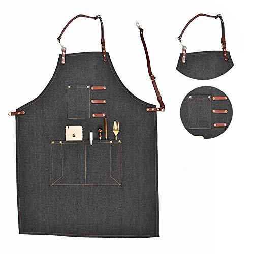 Delantal de mezclilla, delantal de chef profesional con múltiples bolsillos Unisex Delantal de trabajo...