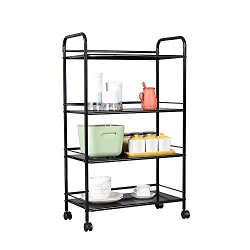 Carrito de almacenamiento con ruedas de metal resistente con 4 ruedas de deslizamiento fácil para cocina, oficina, baño, carrito de almacenamiento de 4 niveles, negro