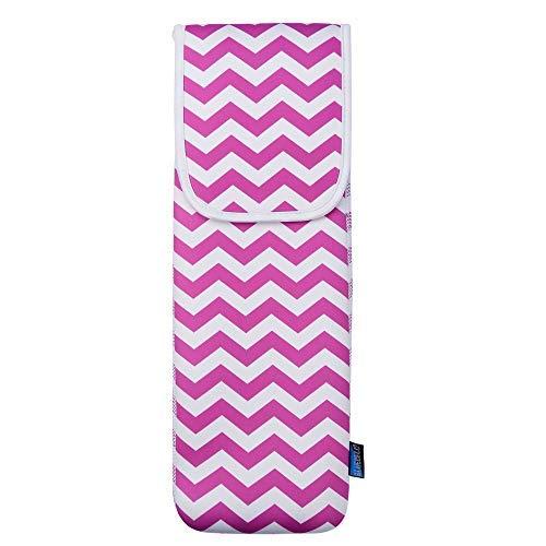 Bluecell Hot Pink Farbe Chevron Wasserabweisendes Neopren Lockenstab Halter Flacheisen Lockenstab Reise Hülle Tasche Tasche 38,1 x 12,7 cm