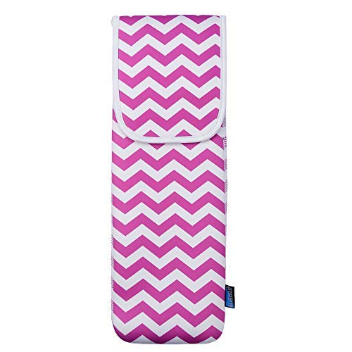 Bluecell Hot Pink Color Chevron Water-resistant Neoprene Curling Iron Holder Flat Iron Curling Wand Travel Cover Case Bag Pouch 15 x 5 Inches