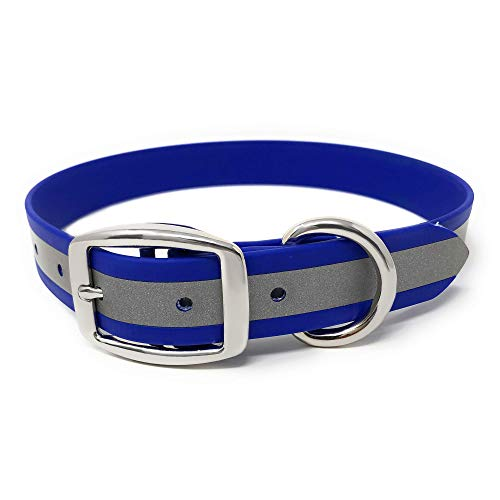 Heavy Duty Blue Reflective Dog Collar – Adjustable and with Durable Metal Buckle and Rings Anti-Odor, chew Resistant, Waterproof Dog Collar for Medium Or Large Dogs (fits 15 to 23 inch Neck)
