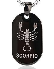 DonDon Collar 52 cm con Colgante de Signo del Zodiaco de la Estrella de Acero Inoxidable de Color Negro-Plata en Bolsa de Terciopelo