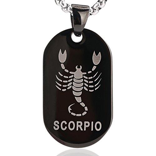 DonDon Collana Unisex con Ciondolo Segno Zodiacale in Acciaio Inox 52 Argento e Nero in Sacchetto di Velluto - Scorpione