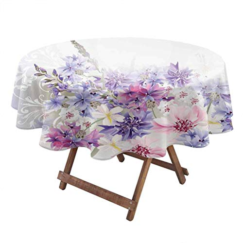 Lavender Machine washableRound Tablecloth Pastel Cornflowers Bridal Classic Design Gentle Floral Wedding Design Print Proof Faded Tablecloth 50 Inch Round Violet Pink White
