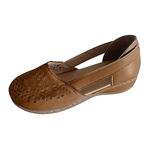 YANFANG Sandalias con Tiras De CuñA,Zapatos Las Mujeres Fondo Grueso Pendiente TalóN Medio La Boca Pescado Completo Hueco Bajo Superior Vuelta Tiras,Zapatos Casuales Transpirable,Marrón,37