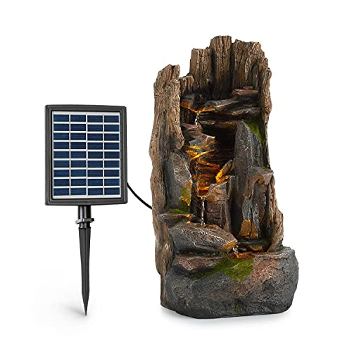 Blumfeldt Mystic Tree - Fuente Solar, para Exteriores e Interiores, Concepto LoopFlow, Autonomía de hasta 5 Horas, Luces LED, Poliresina, Resistente heladas, Simulación de Madera, Marrón