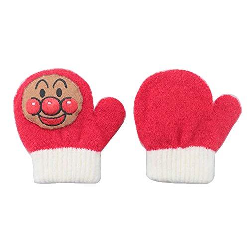 ワッペンを押すと「ピコピコ」とかわいい音が鳴る キッズのびのび笛付きキャラクター手袋 ミトンタイプ アンパンマン レッド
