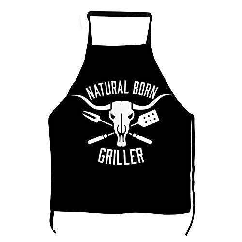 Lustige Natural Born Griller Grillschürze Männer Frauen Kochschürze Stierkopf Latzschürze mit Taschen BBQ Aprons Kochen Backen Küche Gartenarbeit ly75rtm3x5f6