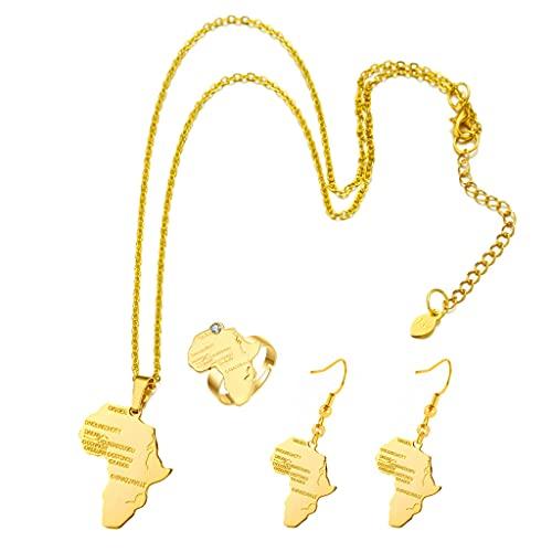 Gergxi Hip Hop Decors, collar y pendientes, juego de anillos de mapa de África, color dorado, adornos africanos, adecuados para cumpleaños, día de San Valentín, regalo de amistad