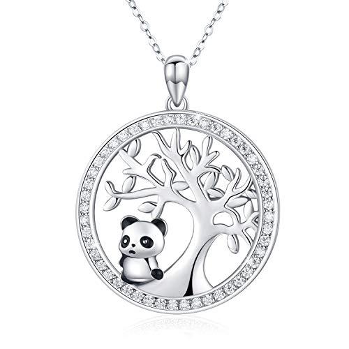 Collar con colgante de panda de plata de ley 925 con diseño de árbol de la vida, bonito collar de panda con incrustaciones de circonitas blancas para mujeres/niñas, Panda Regalo del día de la madre