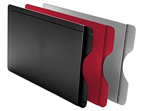BMK Innovationen CardTresor Color Kartenschutzhülle aus Edelstahl, 3er-Set rot, schwarz, Edelstahl, RFID/NFC-Schutz