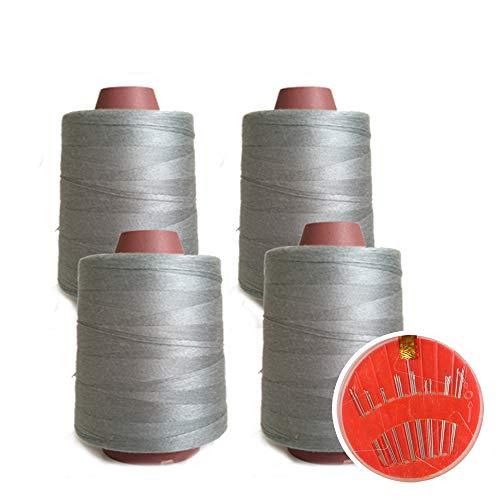 4 Conos de Hilos Overlock 100% Poliéster para Coser a Máquina y Remallar – 40S/2, 4600 Yardas – Hilo Para Remalladora Resistente, Duradero, Colores Brillantes de Máxima Calidad (De color gris)