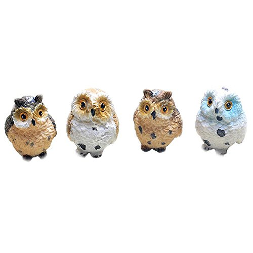 Dollbling 4 pcs Jardin Féérique miniature Owl Ornement Dollhouse Pot Décor DIY Décoration de la Maison