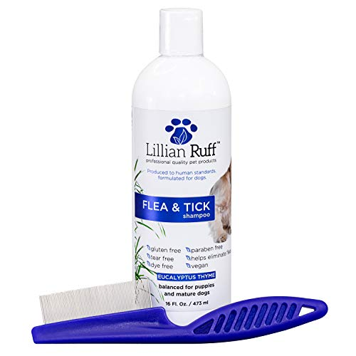 Lillian Ruff Flea and Tick Shampoo for Dogs with Aloe Vera - Soothe The Itch and Repel The Critters with Natural Essential Oils - Balanced for Puppies and Mature Dogs (16 oz with Flea Comb)