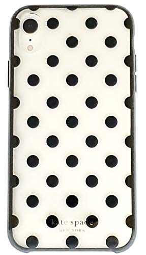 Kate Spade New York Case for iPhone XR - Protective Hardshell, Slim Design Cover, Clear/Black Dots