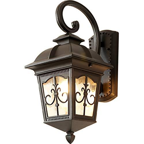 PXX Retro Schmiedeeisen Laterne Wasser Ripple Glas-Wand-Lampe wasserdichte Wand-Wäsche-Licht Für Balkon Korridor Terrasse Beleuchtung, AC110-220V