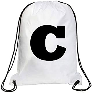 IMPRESS Drawstring Sports Backpack White with Rockwell Letter C