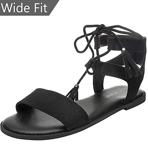 73f4b999582 Women s Wide Width Flat Sandals - Comfortable Lace up Fringed Tassel Ankle  Strap Suede Dress Shoes