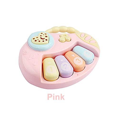 Pädagogisches Klavier Musik Spielzeug,Baby Gitarren Spielzeug Baby Rassel Spielzeug mit Lichtern und Musik für 0-3 Einjahresgeschenk (piano,pink)