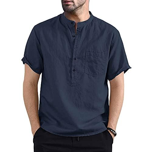 Hombre Camisa Informal de Lino para Verano Camiseta de Cuello Henley con Mangas Cortas y Bolsillo Top Camisa de Ocio de Color Sólido y Corte Ajustado para Diario Viaje (Azul Oscuro, XXL)