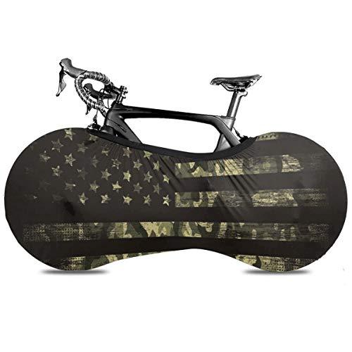 3d brillante cielo estrellado portátil cubierta de bicicleta interior anti polvo alta elástico cubierta de la rueda de la bicicleta protectora Rip Stop neumático carretera mtb bolsa de almacenamiento, Bandera táctica americana de camuflaje, talla única