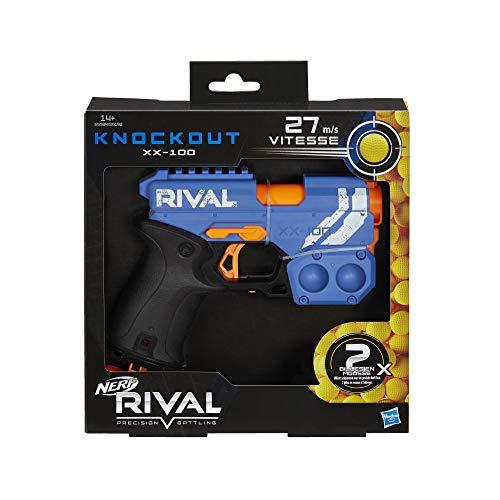 Nerf Knockout XX-100 Azul y Bolas de Espuma Rival Oficiales, Color (Hasbro E6594FR0)