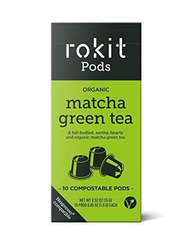 Rokit Pods | Japanischer Matcha Grüne Kreuter Tee Pods | Kompostierbare Kapseln | Nespresso Kaffemaschinen Kompatible Pods | Nie wieder Auslöffeln, Quirlen or Staub | 10 Pods Multipack Bündel