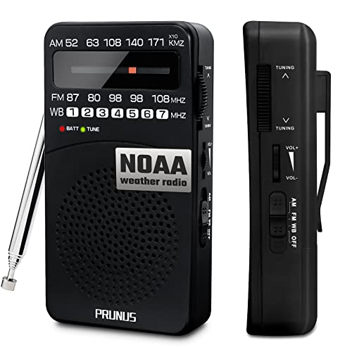 PRUNUS AM FM WB Radio Portable, Transistor Radio with Back Clip, Signal Indicator, Battery Operated Radio with Excellent Reception for Outdoor Indoor