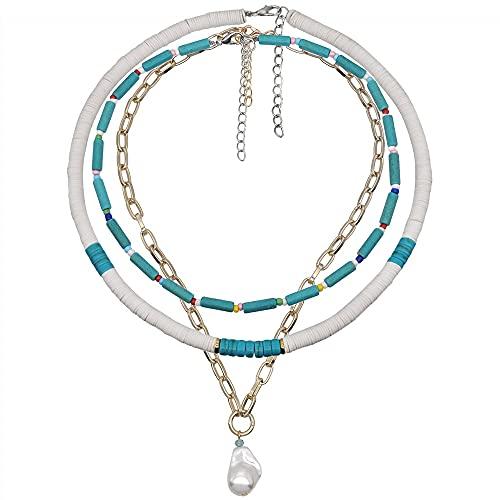 xuyang Collar para mujer con cuentas de moda y perlas bohemias multicapa Accesorios de joyería para mujer (Color de metal: zinc azul)