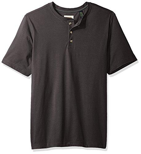 Wrangler Authentics Camiseta Henley de manga corta para hombre, Carbón Heather, L