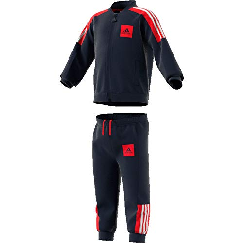 adidas I Shiny TS Chándal, Unisex bebé, Top:Legend Ink/Vivid Red/White Bottom:Legend Ink f17/Vivid Red s13/White, 9-12M