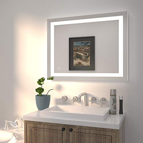 HAUSCHEN HOME 36x28 inch LED Bathroom Wall Mounted Mirror with High Lumen, CRI 95 Adjustable Color Temperature+Anti Fog, Dimmer Function, ETL Listed, Vertical & Horizontal