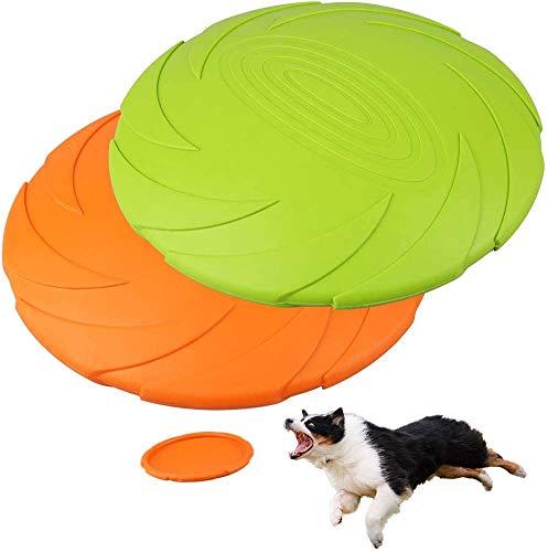 LotFancy PrimePets Juego de 2 Discos Voladores para Perros de 7 Pulgadas, Frisbi Juguetes Duraderos para Perros, Platillo Volador Flotante de Goma Natural para Piscina de Agua, Playa (Naranja,