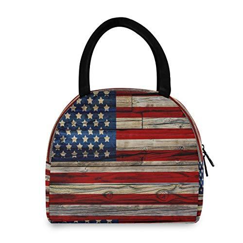Funnyy Bolsa de almuerzo de madera con diseño de bandera americana para mujeres Patriótica bolsa térmica resistente al agua Oxford lonchera para adultos niñas y niños al aire libre trabajo de picnic