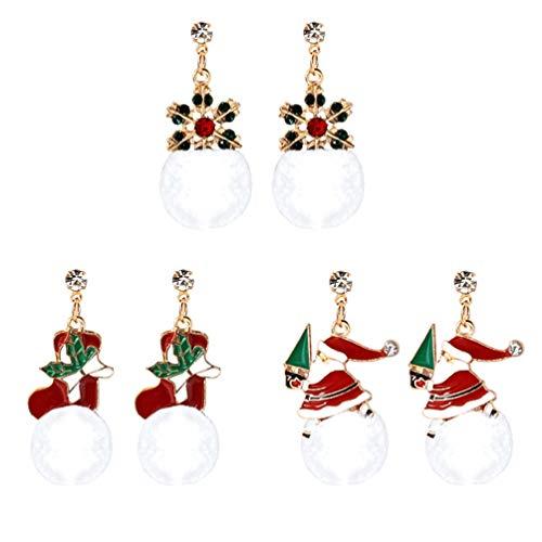 Amosfun Lot de 3 paires de boucles d'oreilles de Noël en forme de chaussure de Noël avec boules de coton Cadeau pour femme vacances d'hiver Thanksgiving Fête