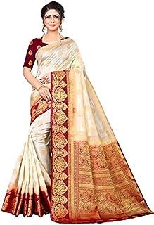 Neerav Exports Banarasi Soft Silk With Rich Pallu Traditional Jacquard Saree (White)