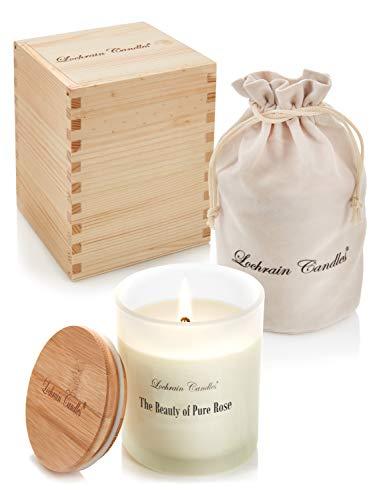 Vela Perfumada Grande de Soja - Aromaterapia Ecológica – La Belleza de la Rosa Pura - con aceites esenciales y productos botánicos, en una excepcional caja de presentación de madera hecha a mano.
