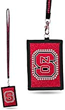 NCAA North Carolina State Wolfpack Beaded Gem Lanyard with ID Wallet