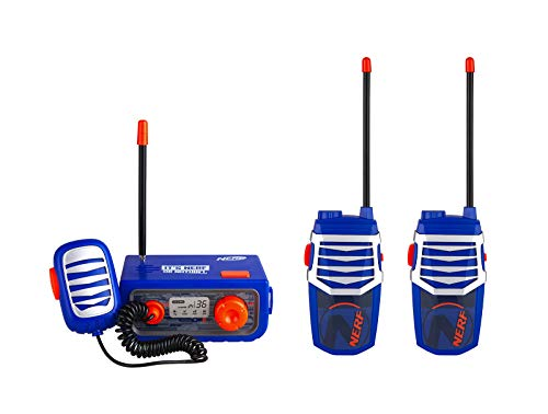 NERF Walkie Talkies Set, 3 Piece Walkie Talkie Base Station Kit for Kids and Adults, Long Rang Three Way Radio with Volume Control, Rugged Outside Toys for Children Buys and Girls