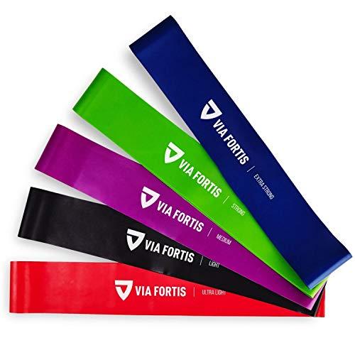 VIA FORTIS Elastici Fitness (Set di 5) de Bande Elastiche Fitness con 5 Livelli di Resistenza – Elasticos Fitness con Istruzioni per l'esercizio Italiano e Borsa per Il Trasporto