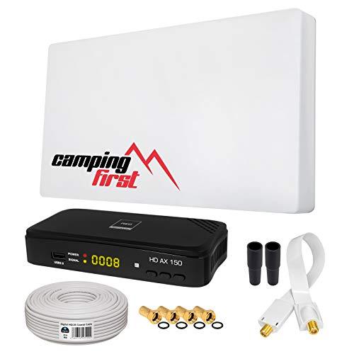 HB-DIGITAL SAT Set Sat-Flachantenne Single 1 Teilnehmer + SAT-Recever + Halterung + 10m Kabel + Fensterdurchführung + 4X F-Stecker + 2X Gummitüllen + HDMI Kabel | Full HD