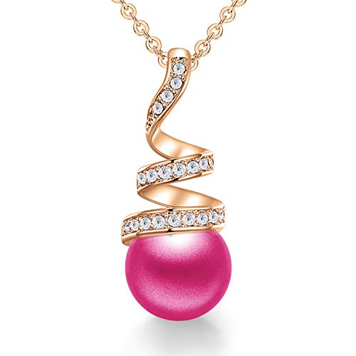 CDE Pearl Pendant Necklace for Women 925 Sterling Silver/White Gold/Rose Gold Plated Pearl Necklace Embellished with Crystals Christmas Jewelry Gift Birthday Gift for Mom Women Wife Girls Her