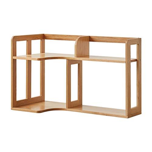 Estantería para libros Estante de escritorio multiusos Mostrar estantería de estantes Almacenamiento de almacenamiento Rack de madera Escritorio Organizador grande Oficina Encimera Librería ensamblada
