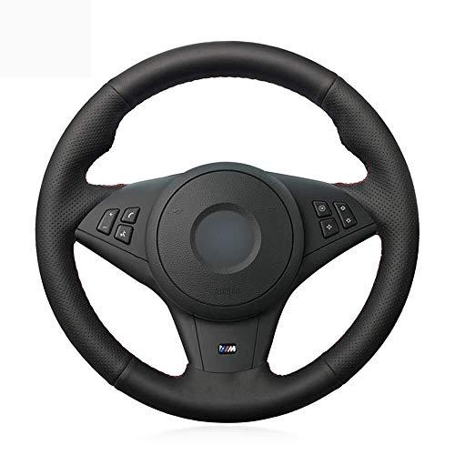 GXDHOME Cubierta del Volante del Coche, Cuero Genuino Negro Gamuza a Mano Cinta del Volante del Coche Cubierta del Volante para BMW E60 M5 2005-2008 E63 E64 Cabrio M6 2005-2010 (Color : Style-03)