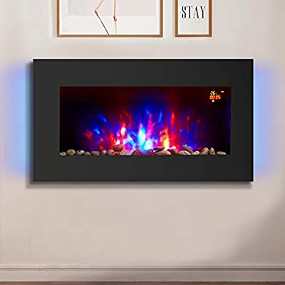 NRG 2KW Wall Mounted Flat Glass Electric Fire 7 Colors & Remote Control Heater with Timer