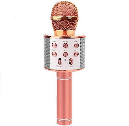 Dtech Micrófono de karaoke inalámbrico Bluetooth para niños, baile con luces LED inalámbricas, portátil, grabadora de altavoz KTV para iPhone, Android, iPad, PC (oro rosa)