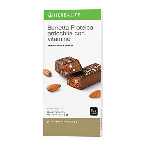 Herbalife Barrette energetiche Mandorla e Vaniglia alle proteine - Merenda - Snack - Spuntino - Confezione 14 pz