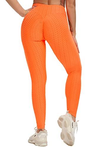SEASUM Pantaloni Tuta da Donna Yoga Pants Push up Leggings Sportivi Anticellulite Elastici Collant, A-Arancione L